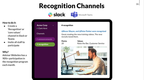 use slack to recognize good work in your team
