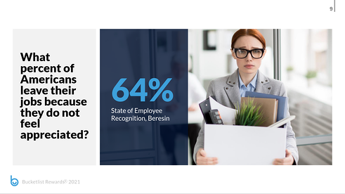 what percent of Americans leave their jobs because they do not feel appreciated, 64%